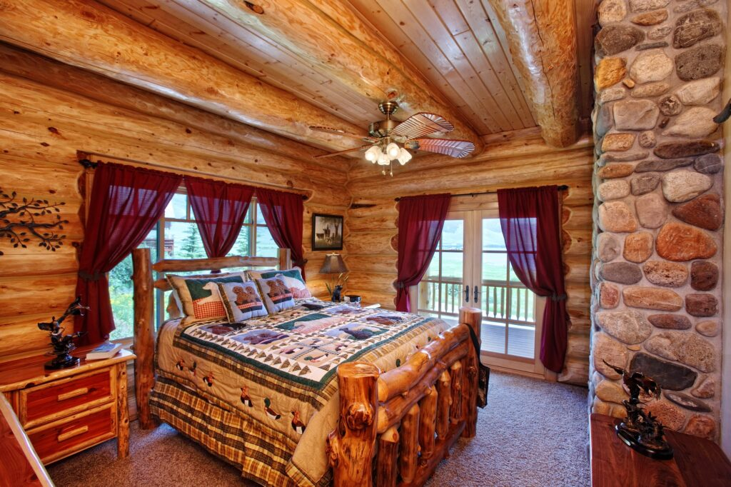 Cheerful Brown Bedroom in a Log Cabin in Scenic Mountains