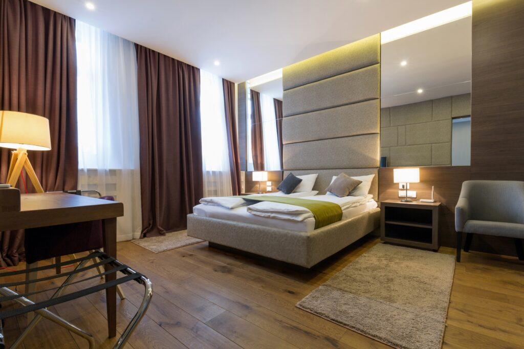 Contemporary Brown Bedroom with Soft Natural Light