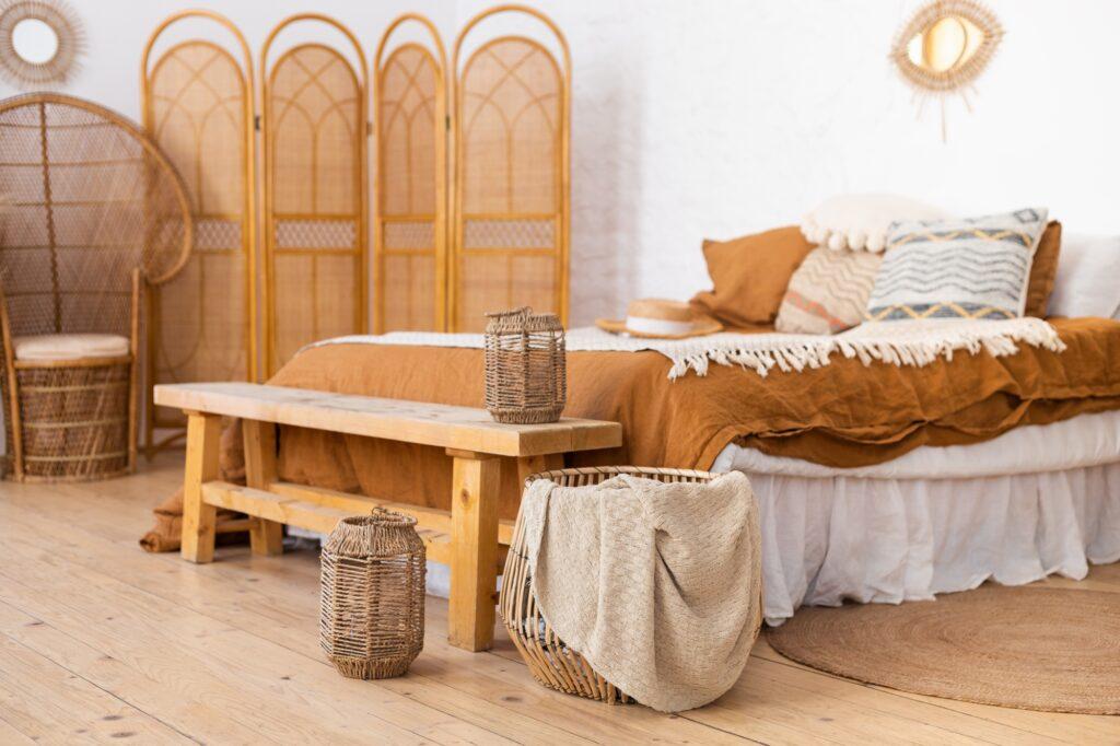 Cozy Scandinavian Style Boho Bedroom with Glowing Brown Hues