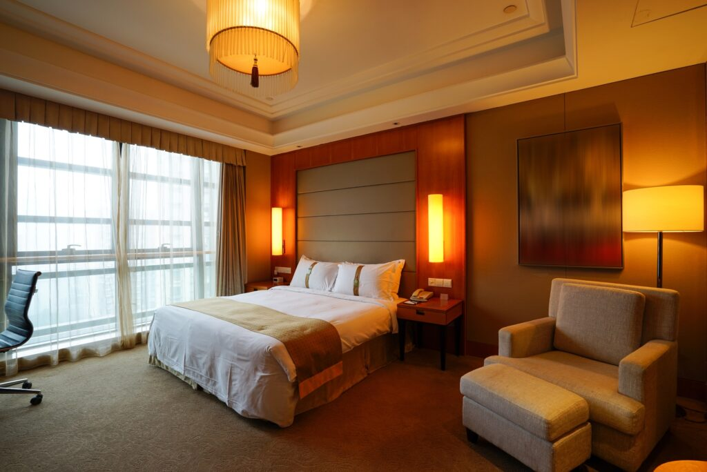 Elegant Modern Brown Bedroom Interior with Stunning Sconce Lights
