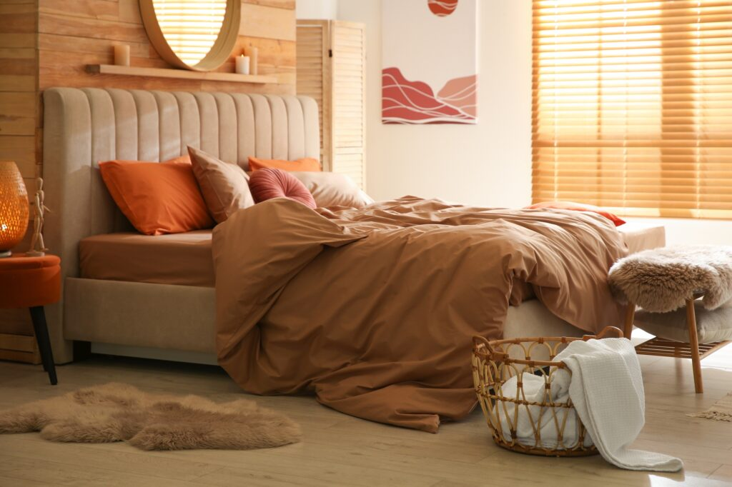 Light Brown Bedroom Interior with Rustic Accents