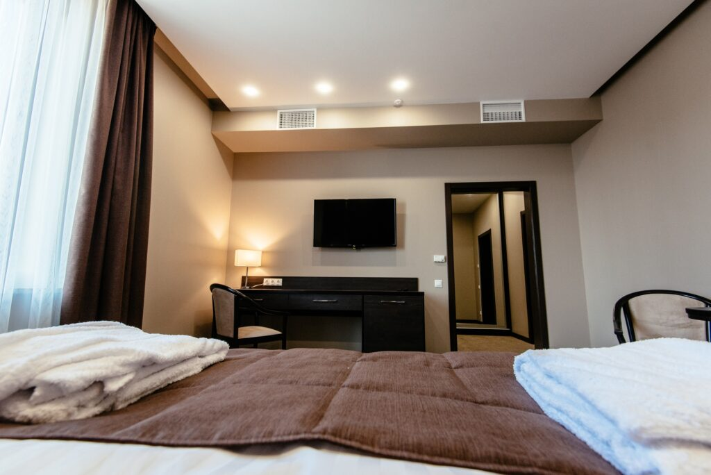 Light Brown Modern Bedroom Interior with Soft Pleasing Lighting