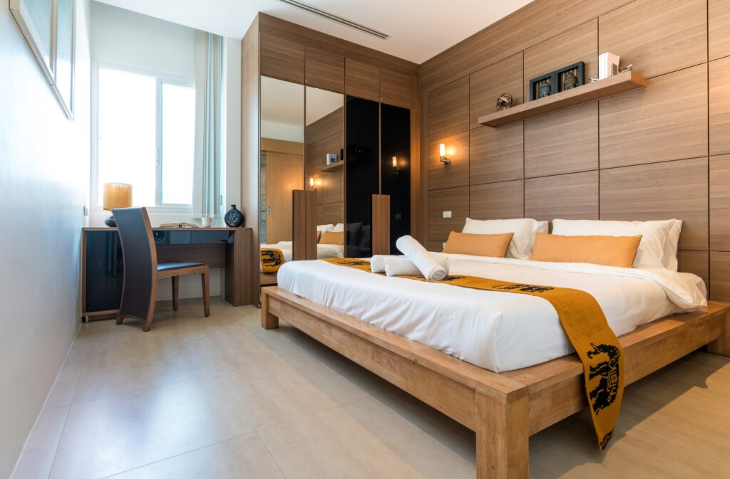 Luxury Open Plan Bedroom in Contemporary Vacation Villa Setting