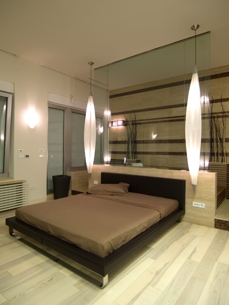 Minimalist Brown Bedroom with Platform Bed and Elongated Lights