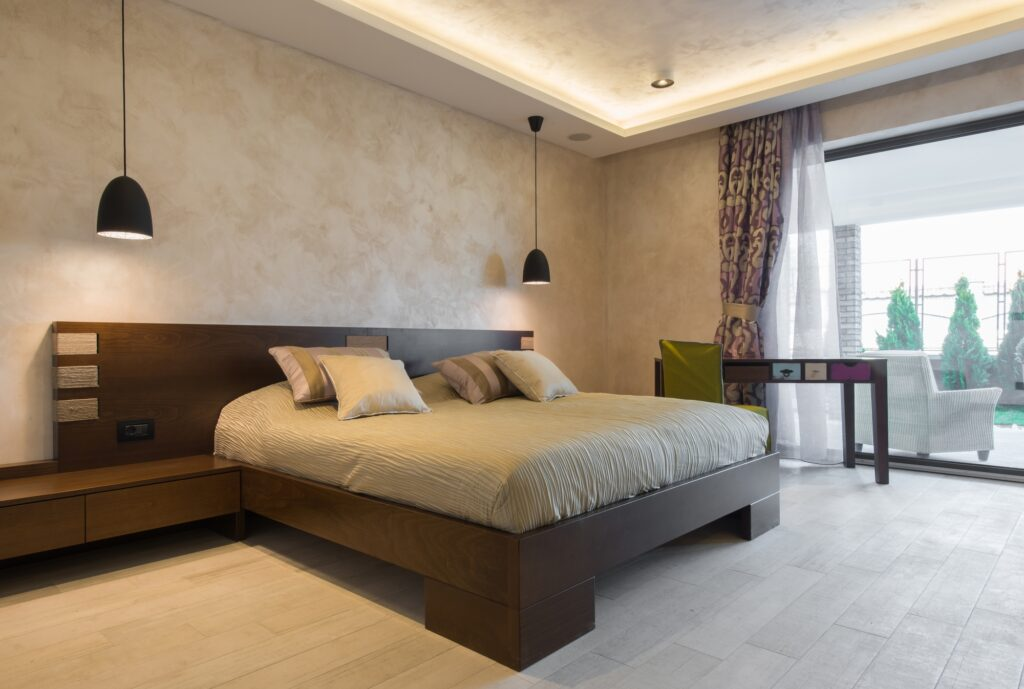 Minimalist Style Brown Bedroom and Faux Stucco Walling