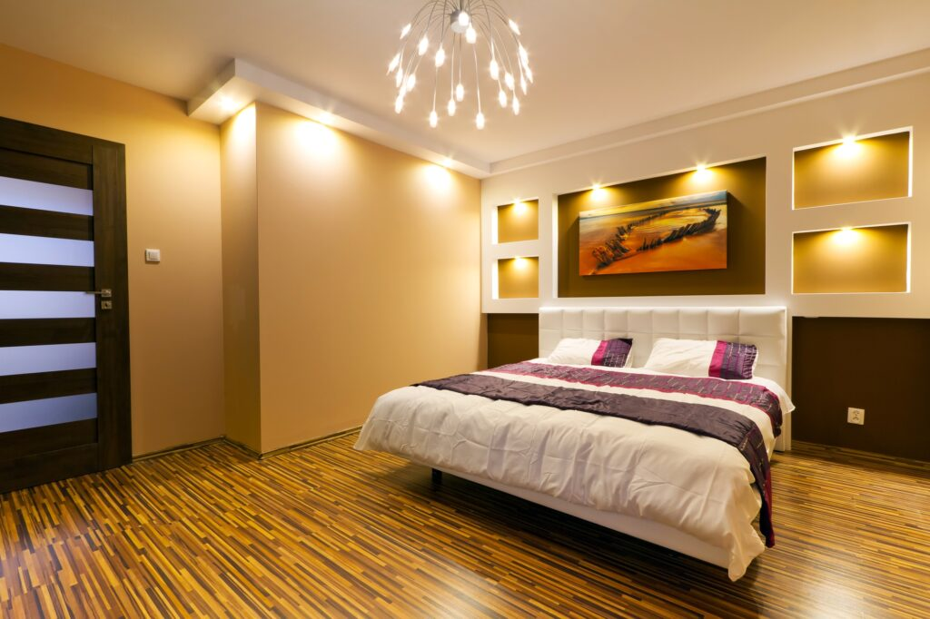 Modern Master Bedroom with Brown Decor and Accents