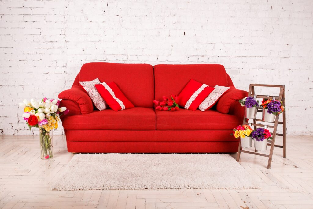 Red Sofa In Boho Den with White Brick Wall and Semi Shag Rug