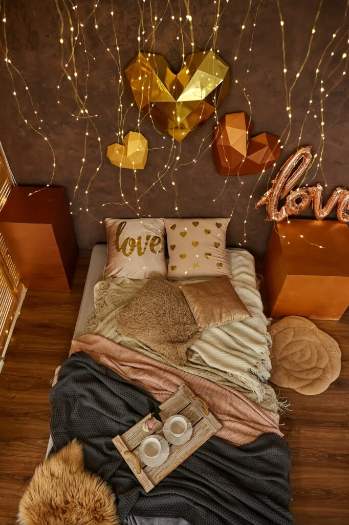 Romantic Brown Toned Bedroom Decor with 3D Hearts on the Wall