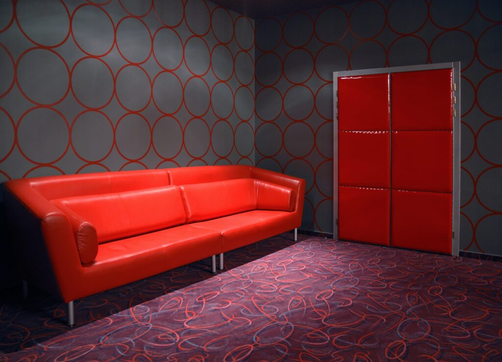 Slick Red Sofa in Modern Minimalist Room with Creative Rug