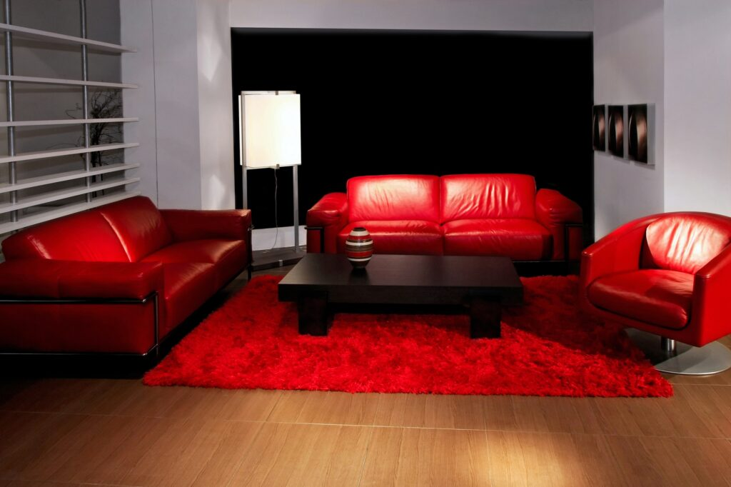 Stunning Red Black and White Living Room with Red Leather Sofas