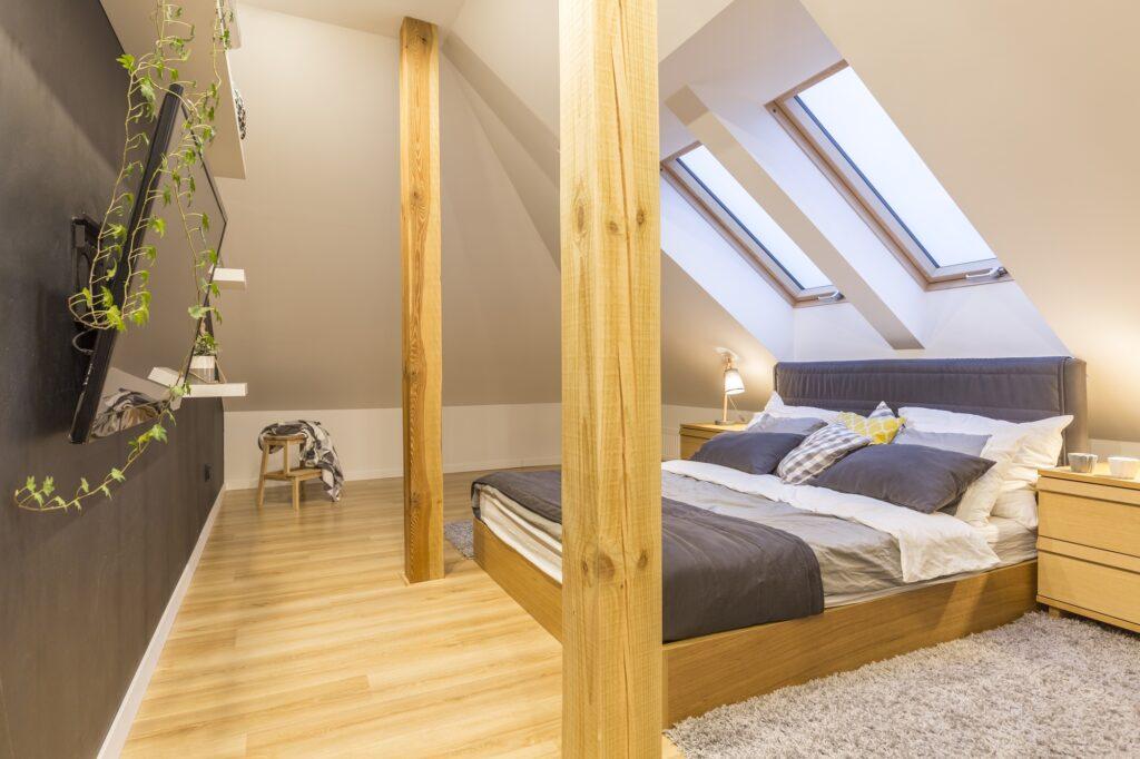Stylish Modern Brown Wooden Attic Bedroom Design
