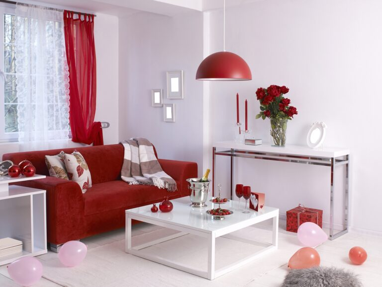 Valentines Day Style Den with Red Sofa Red Lamps and White Rug