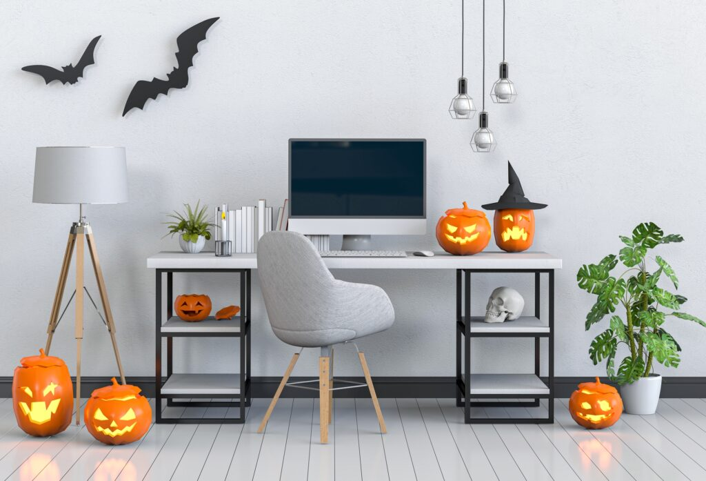 Bright Home Office with Creative Halloween Décor