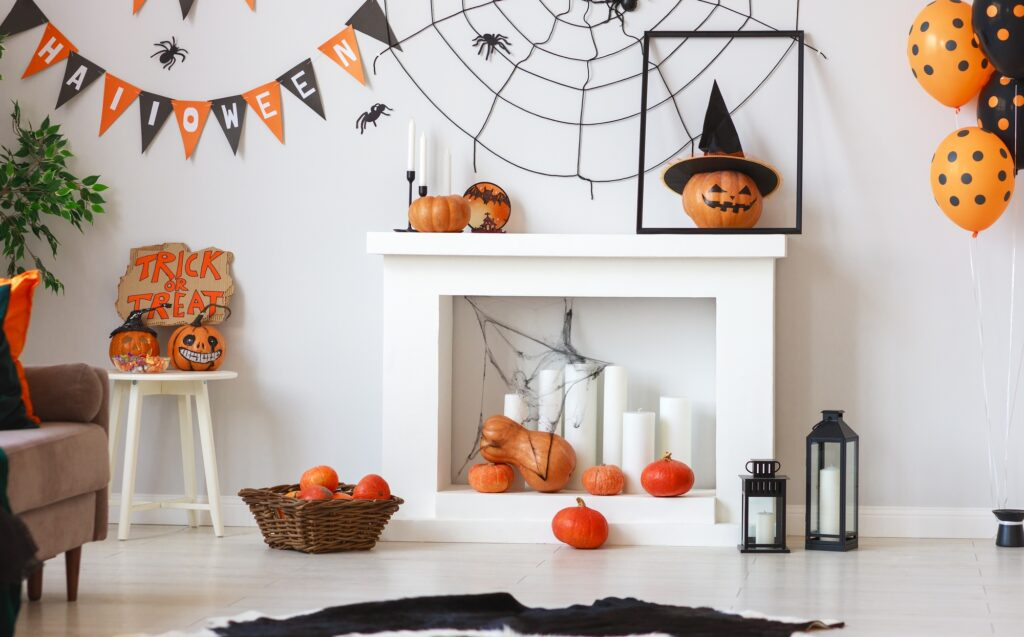 Closeup of Festive Halloween Fireplace with Spooky Accents