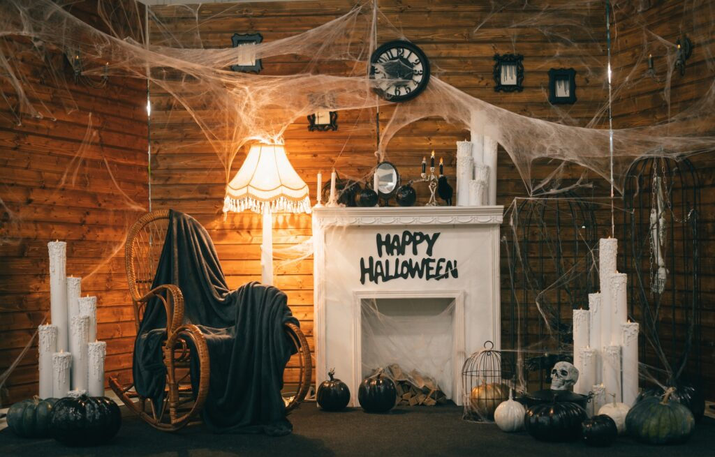 Cozy Vintage Style Halloween Decorations with Rocker and Fireplace