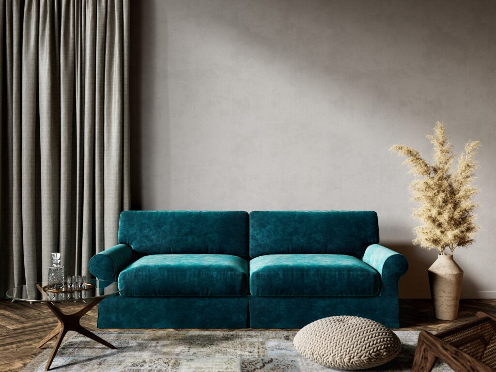 Deep Sea Green Suede Sofa with Pleasing Neutral Rug and Decor