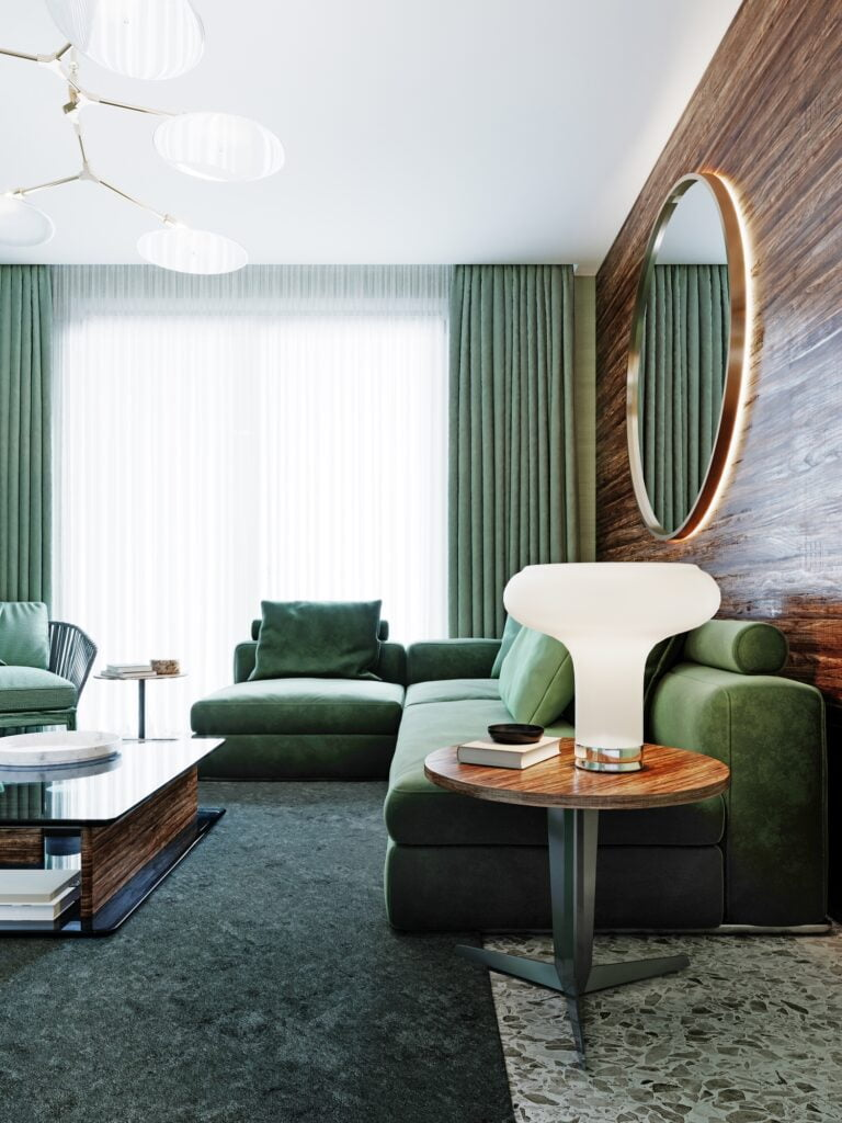 Fashionable Green Corner Sectional Sofa with Green Textured Rug