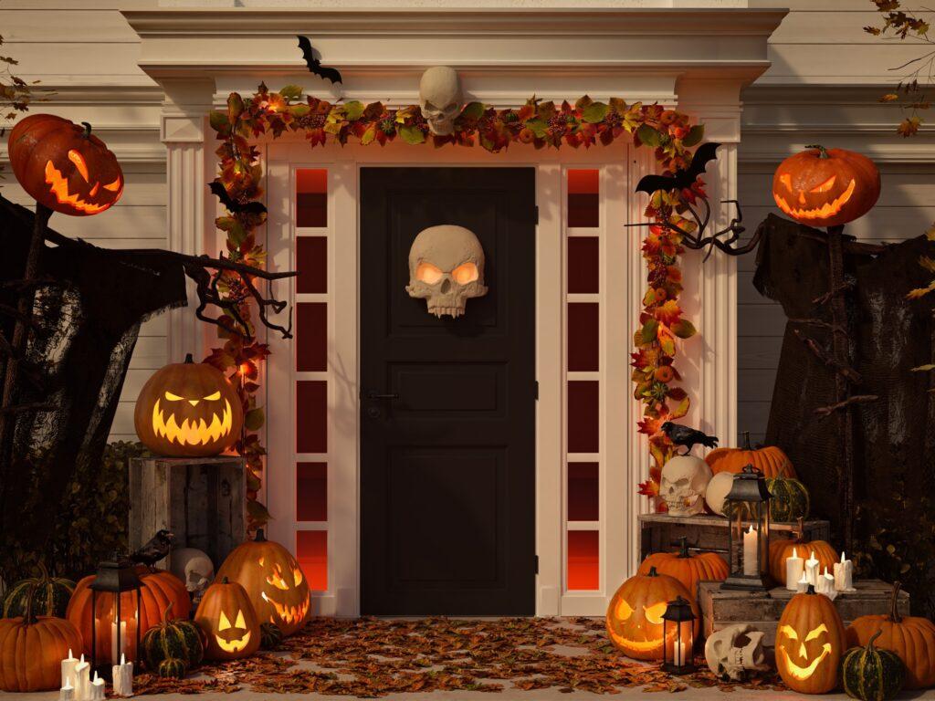 Festive Home Entrance Abundant with Halloween Decorations