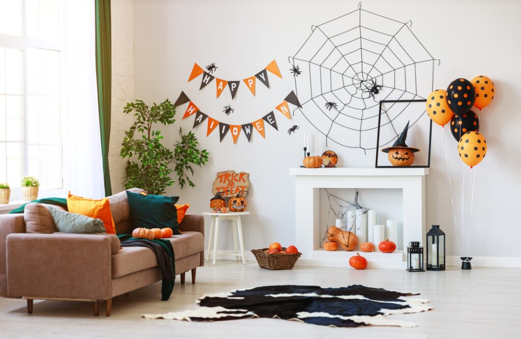 House Interior with Halloween Pumpkins, Web and Spiders