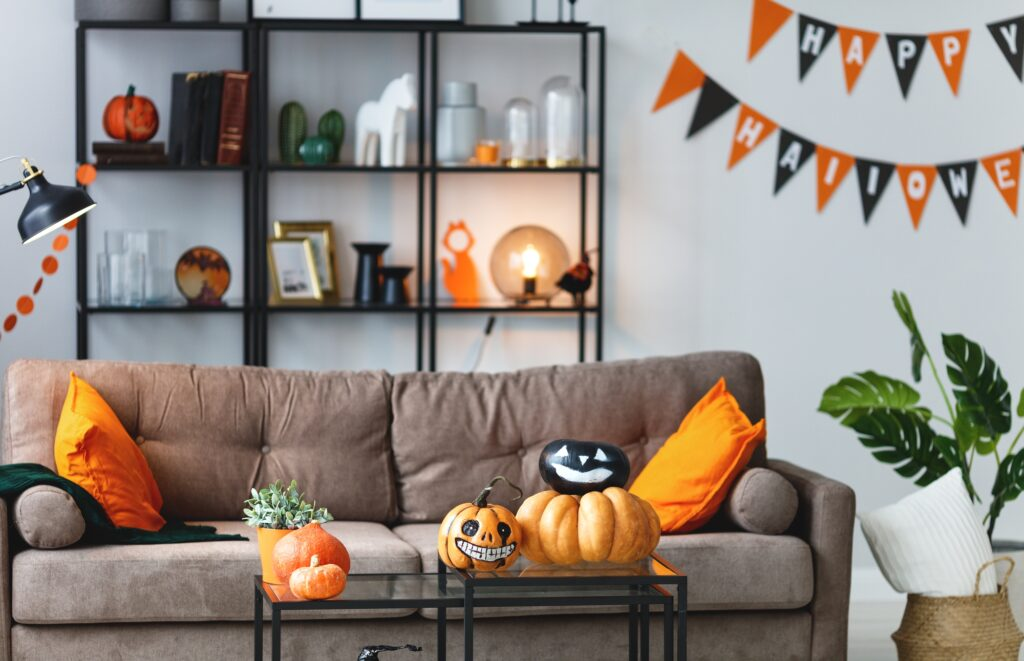 Inviting Living Room Interior with Festive Halloween Display