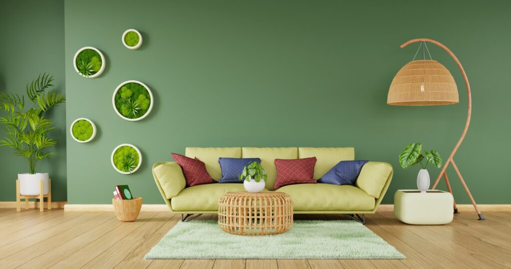 Light Yellow Green Sofa with Rattan Furniture and Lime Green Rug