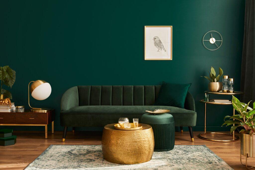 Luxurious Green Velvet Living Room Sofa and Vintage Gray Green Carpet