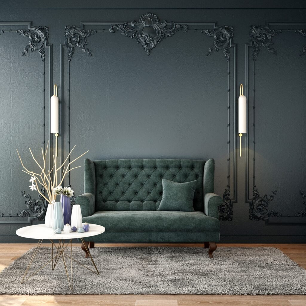 Modern Classic Living Room with Soft Green Sofa and Gray Carpet
