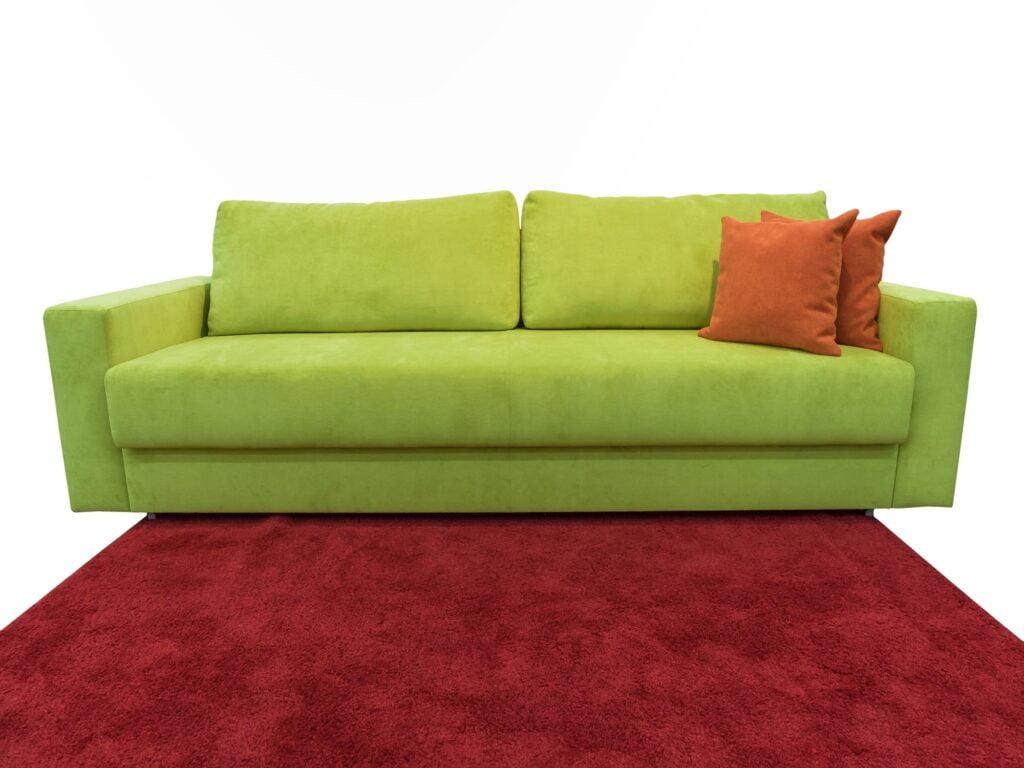 Modern Spring Green Sofa with Deep Auburn Carpeting