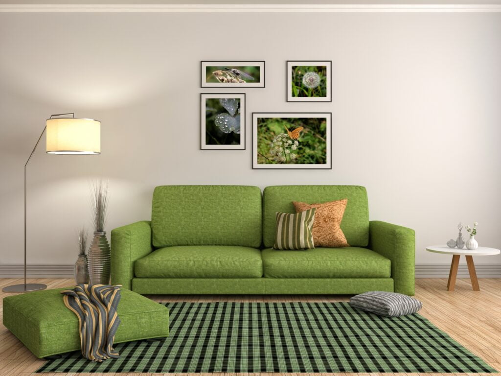Spring Green Sofa with Bold Green and Black Striped Rug