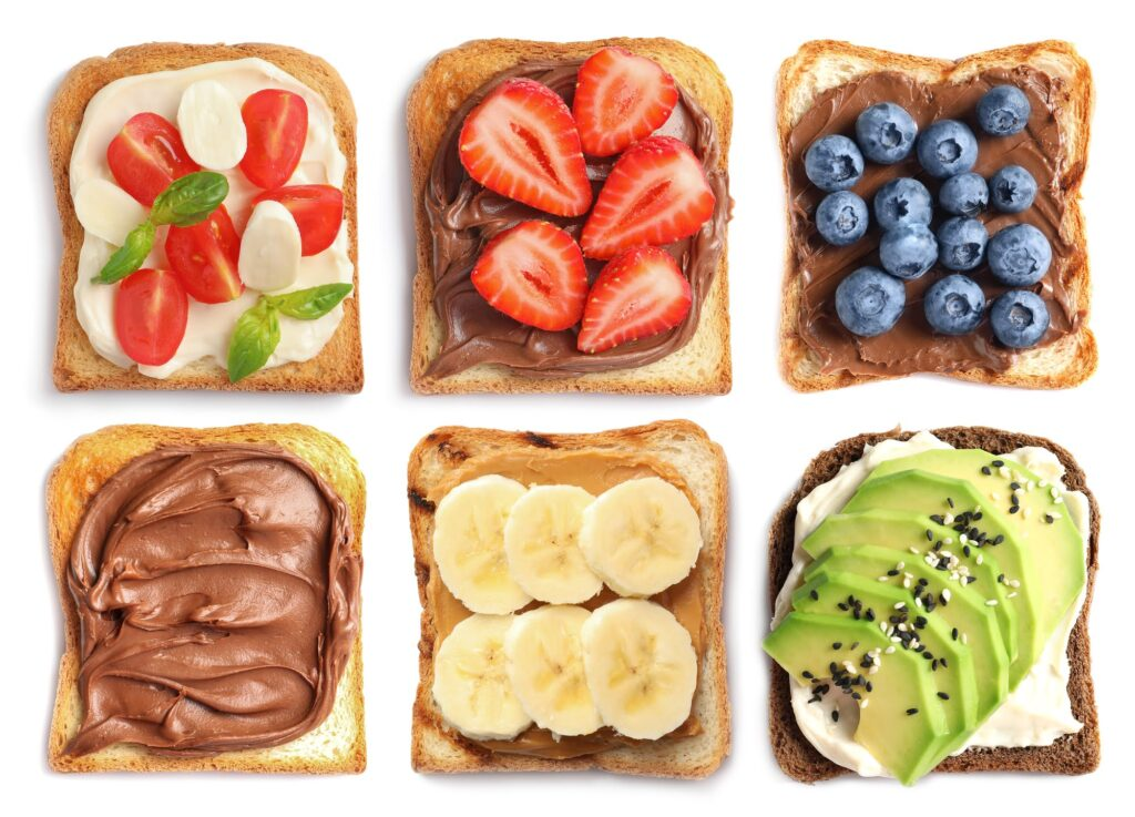 Toast breads and different toppings