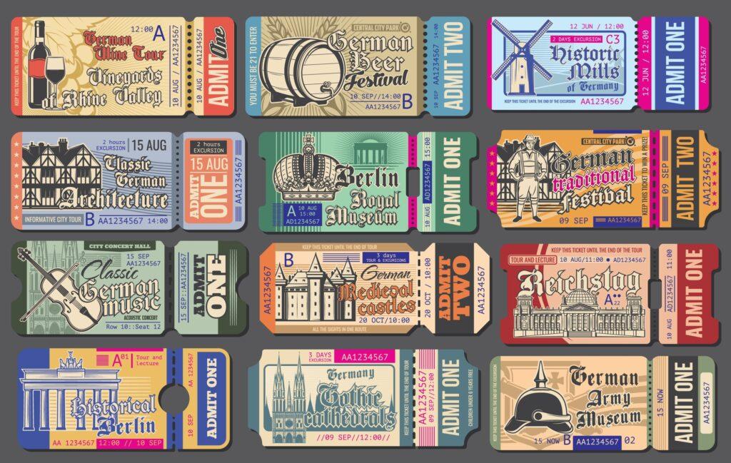 Vintage admission tickets