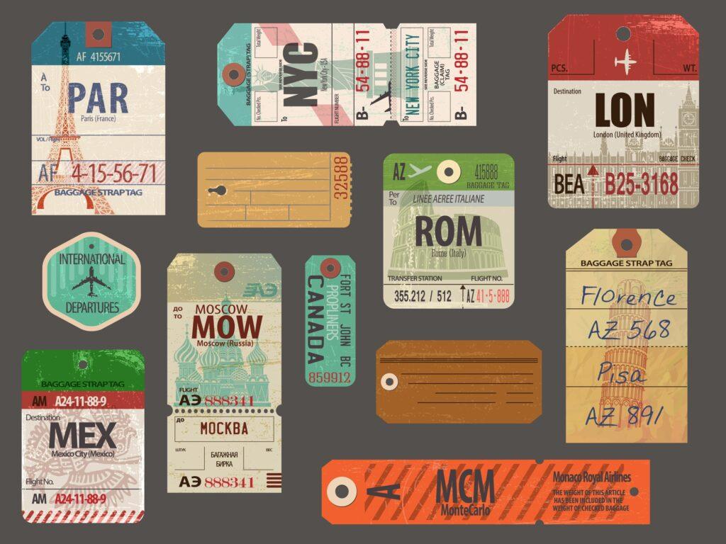Vintage baggage tags