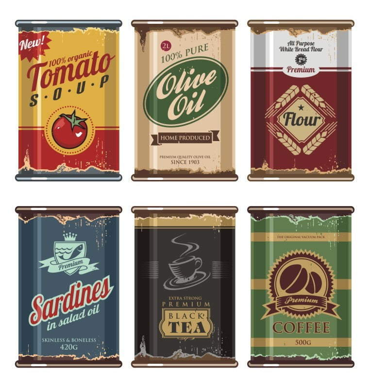 Vintage food cans