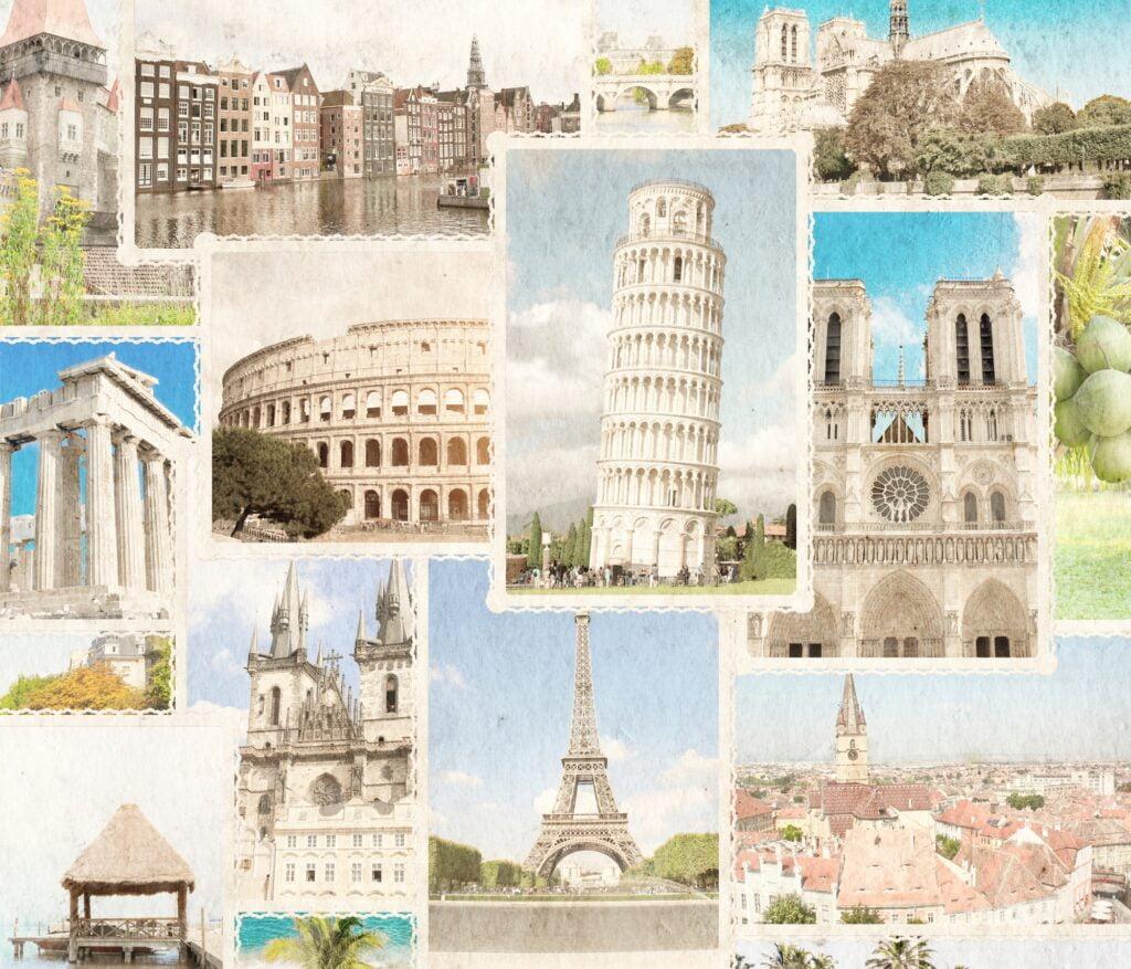Vintage photos of European landmarks