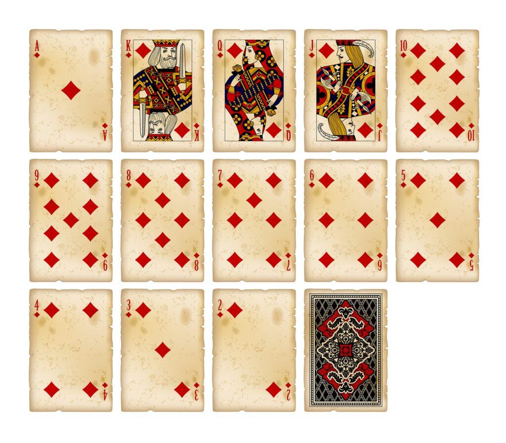 Vintage playing cards – diamonds