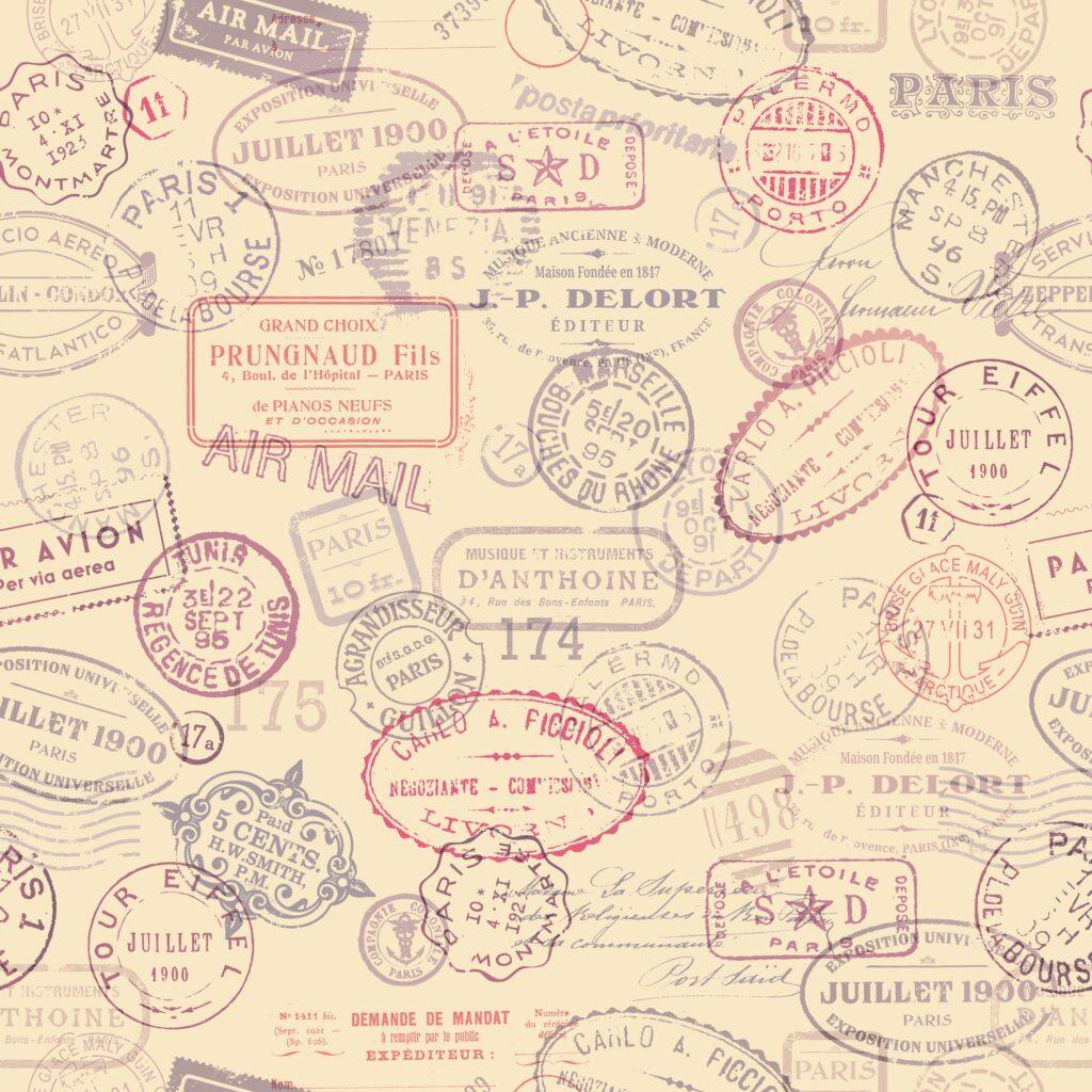 Vintage stamp signs on paper