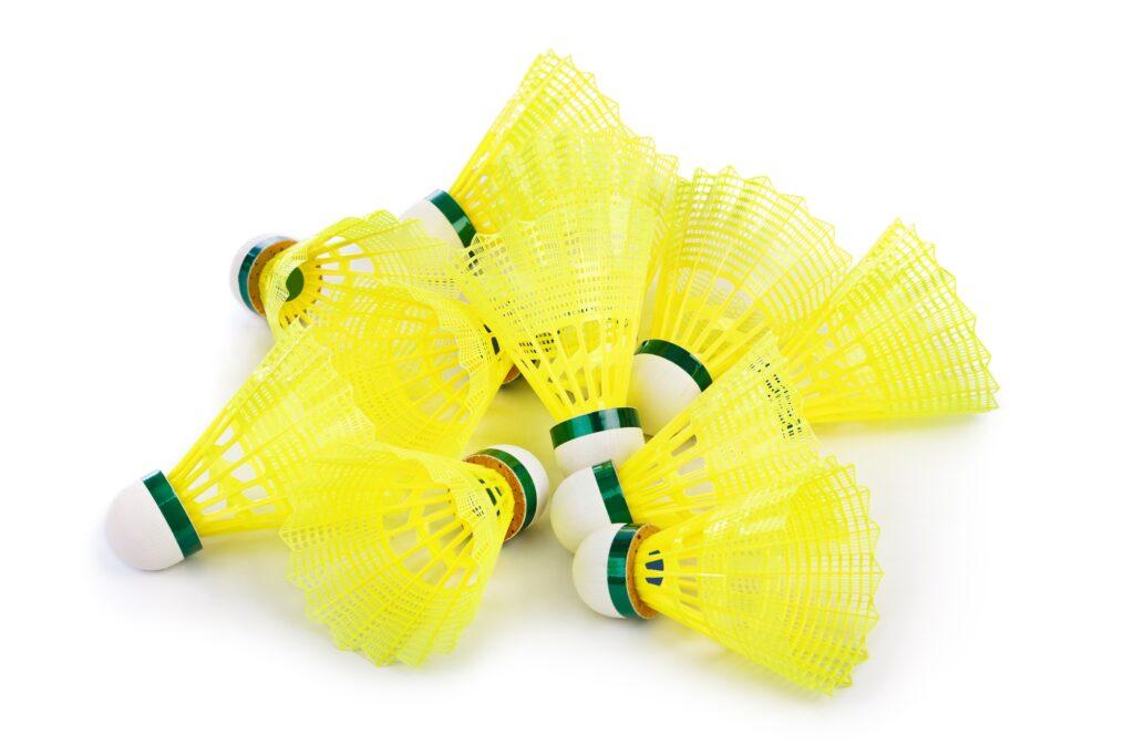 Yellow badminton shuttlecocks
