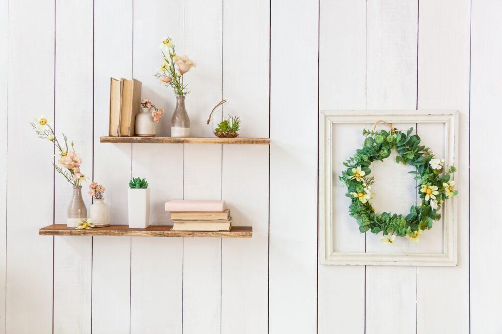 Flowers on Bookshelves
