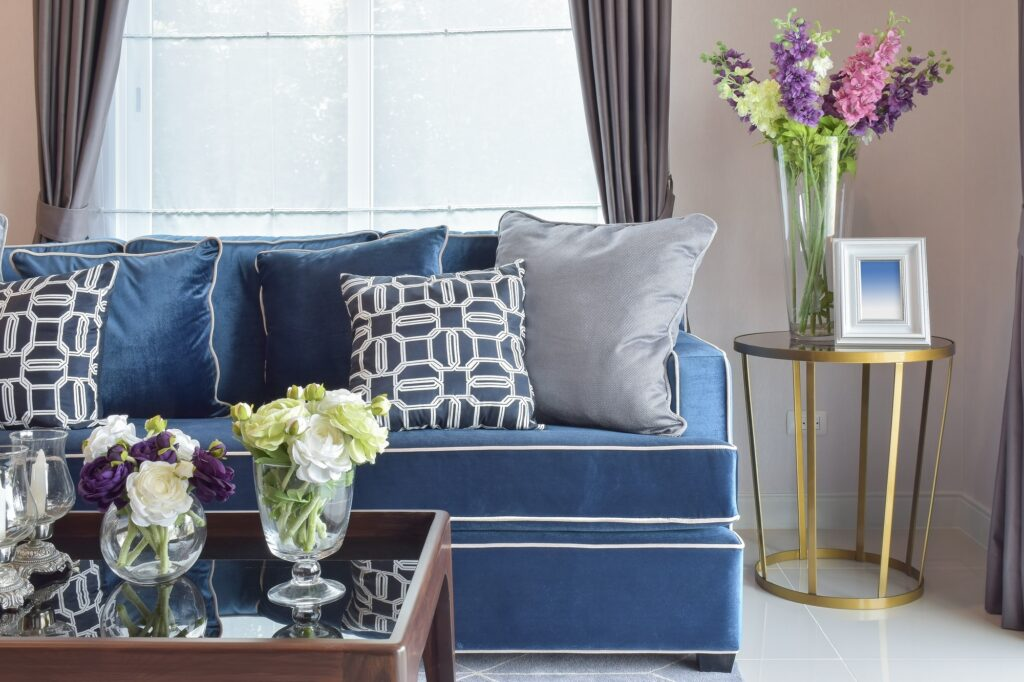 Blue and Silver Pillows