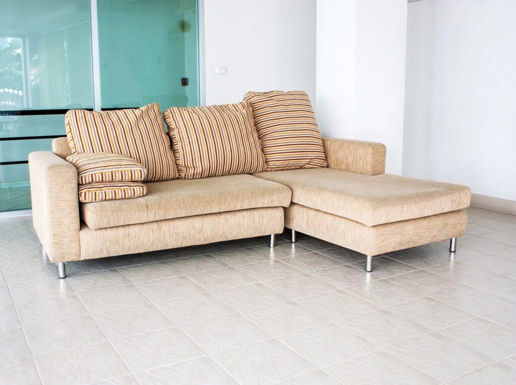 Striped Pillows on Sofa